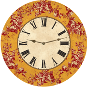 floral-mustard-toile-clock