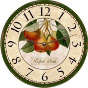 pear-fruit-wall-clock