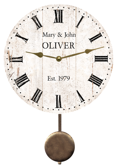 personalized-white-rustic-clock